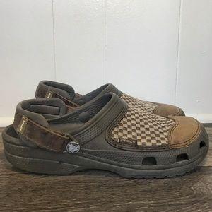 Crocs Checkered Sandals Green Brown Size 9